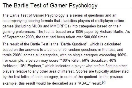 """The Bartle Test is used in planning and appealing to all players of a game. Are we going to let the semantics of having a """"killer"""" player type keep us from effectively applying gaming in the classroom? See: http://gamification.org/wiki/Personality_Types"""