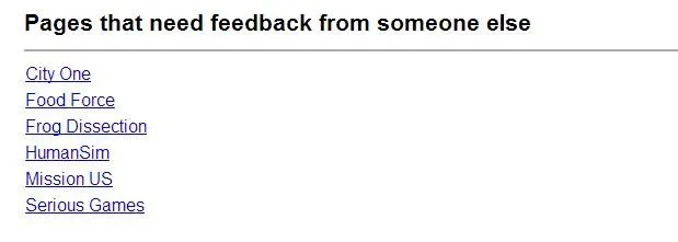 """Students tag pages """"feedback"""" and it goes on this list. This list is generated automatically by the wiki - all wiki pages on that project tagged """"feedback."""" After a student leaves feedback, they delete the tag and it is no longer on the list. This is how students can tell who needs help. They are working across two class periods and have been challenged to develop asynchronous work flow methods."""