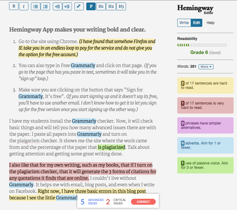 Writing Tip Hemingway and Grammarly Used Together