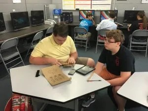 We started the school year with passion projects. Here, students are assembling Google cardboard and picking apps to use with it.