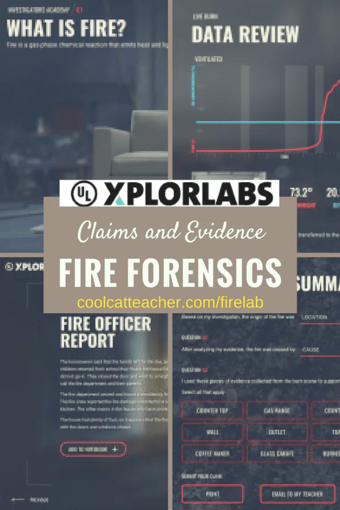 Fire Forensics Screenshots from the Xplorlabs free STEM lab for middle school science