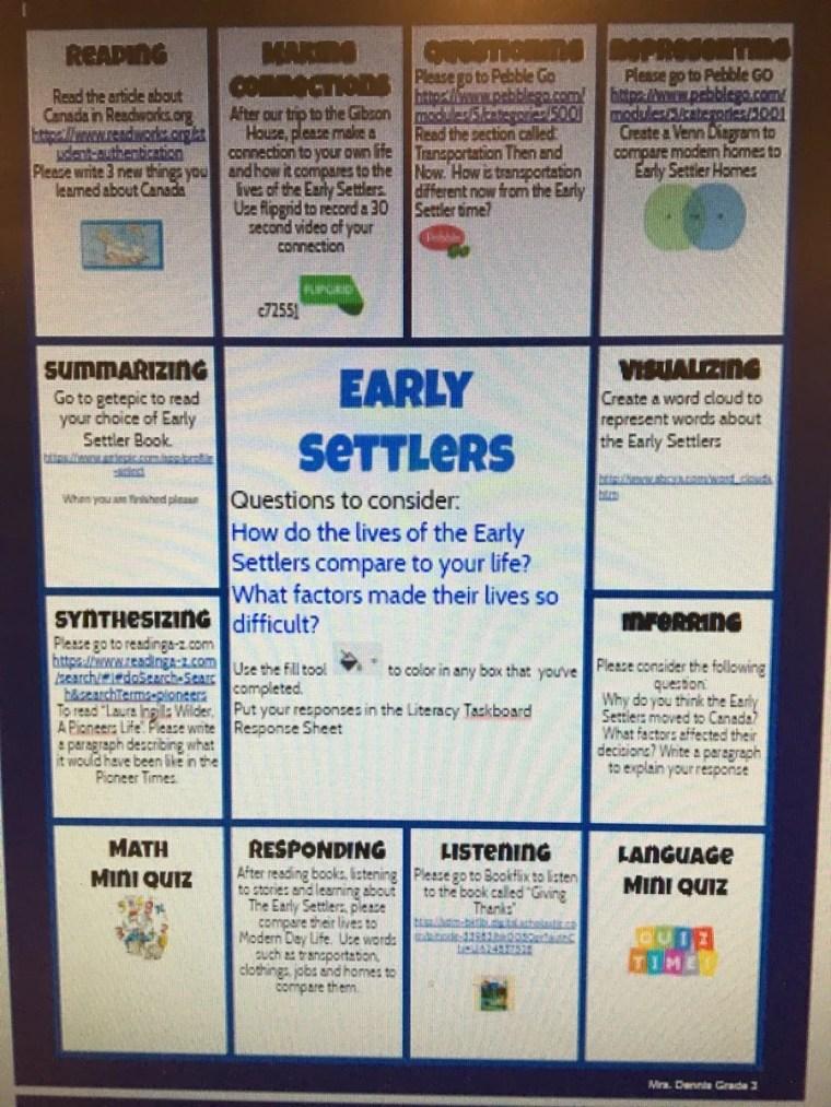 hyperdocs literacy task board for early settlers
