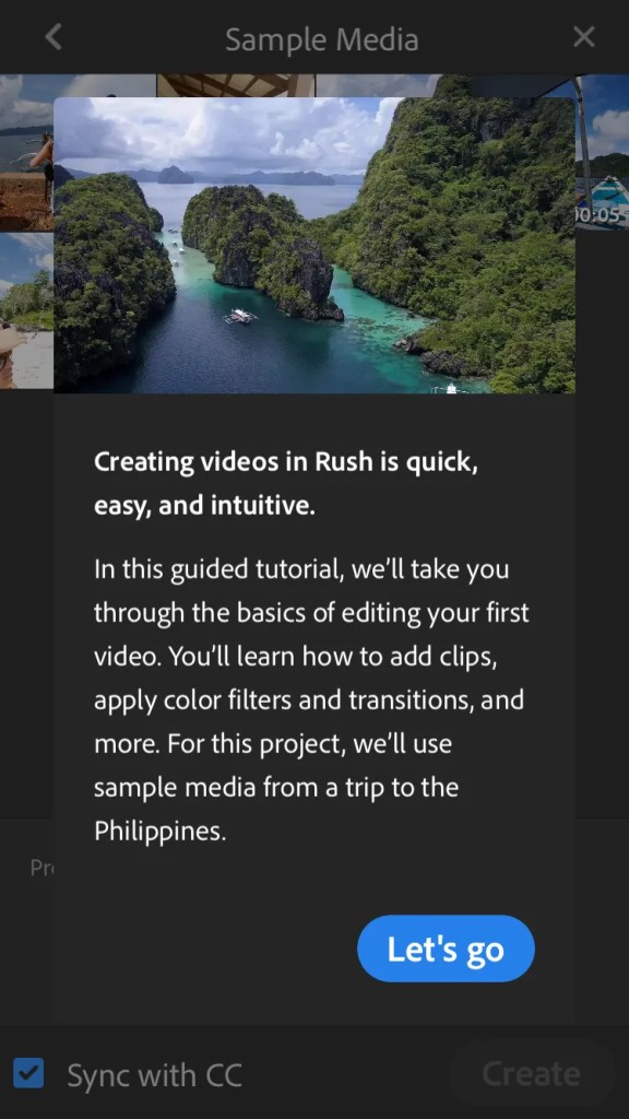 As you enter Adobe Premiere Rush a tutorial opens to teach you how to use the app.