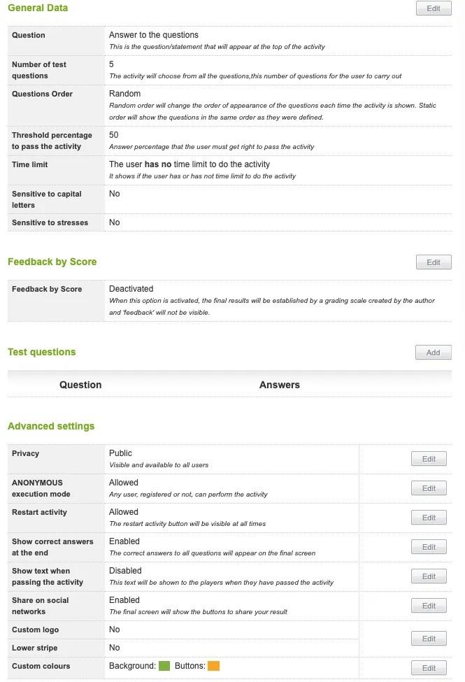 Educaplay quiz options
