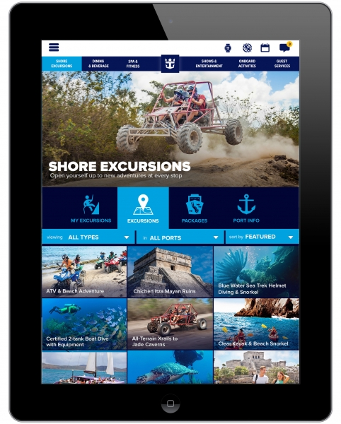 Royal iQ, available as a downloadable app and provided at freestanding iQ stations around the ship, allows guests to manage details during the cruise, includes a convenient calendar that provides at-a-glance views of their program, and keep in touch with one another and home via phone and text capabilities.