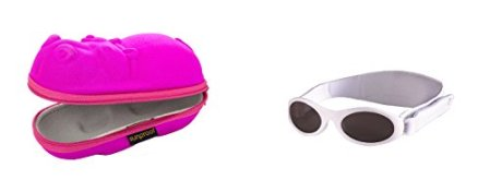 Baby Banz – Baby Mädchen Sonnenbrille inkl. einem Nilpferd-förmigem Brillenetui – mehrfarbig