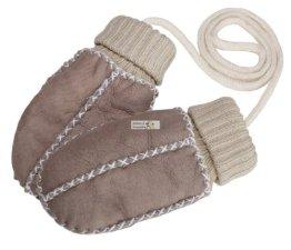 Eisbärchen – Baby Lammfell-Handschuhe – sand-beige