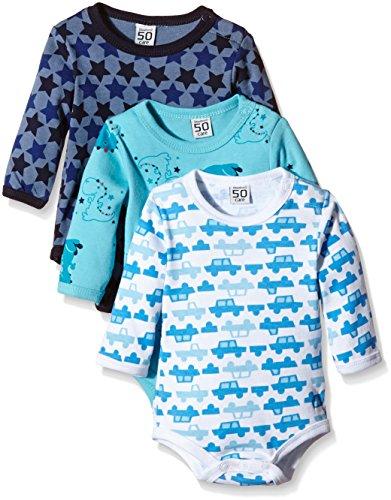 Care – Baby Jungen Body-Schlafanzug Langarm – blau, 3er Pack -