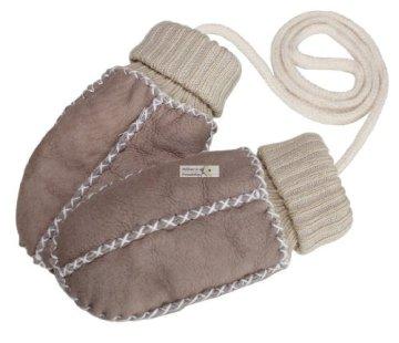 Eisbärchen – Baby Lammfell-Handschuhe – sand-beige -