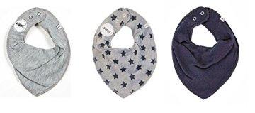 Pippi – Baby Halstuch Dreieckstuch – uni grau/grau mit STERNE navy/uni navy, 3er Pack -