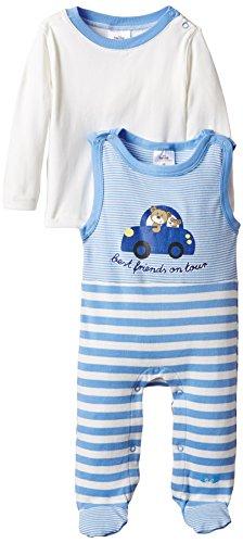 """Twins – Baby  Jungen Strampler """"Auto"""" im Set mit Langarmshirt – blau -"""