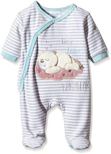 """Twins – Baby Schlafstrampler """"Bärchen"""" – weiss/hellgrau -"""