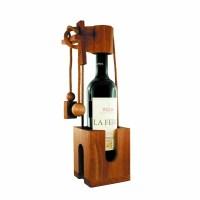 Flaschenpuzzle aus dunklem Edelholz - Geschenkverpackung für Weinflaschen