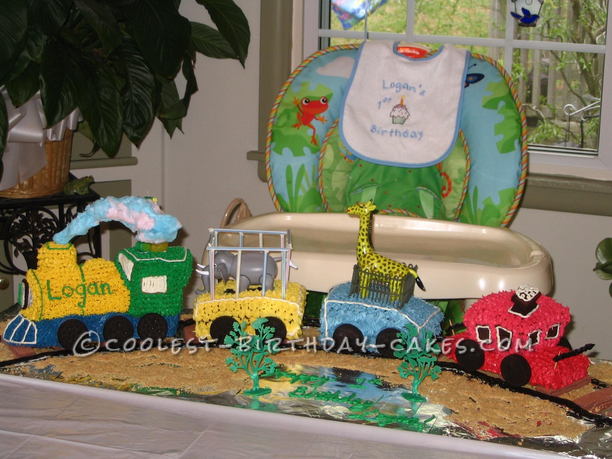 Coolest 1st Birthday Circus Train Cake
