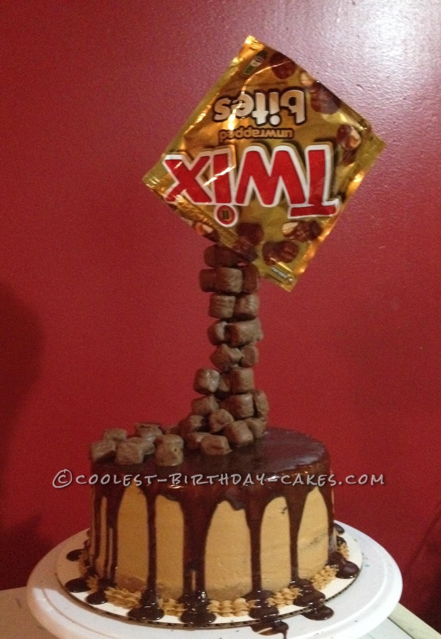 Coolest Homemade Twix Anti Gravity Cake