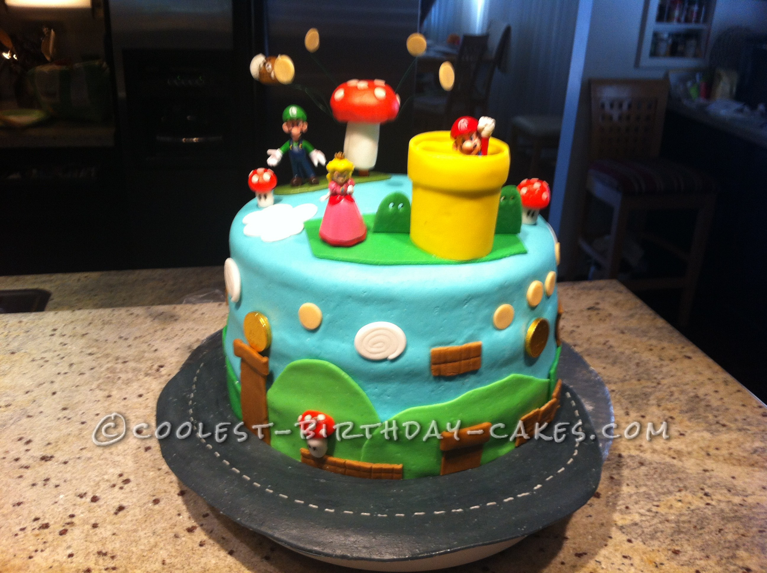 Cool Animated Mario Brothers Birthday Cake
