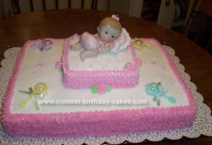 Sweet Homemade Pink Baby Shower Cake Design