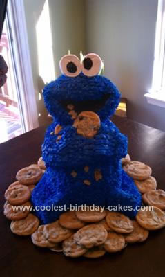 Adorable Homemade 3d Cookie Monster Cake With Chocolate