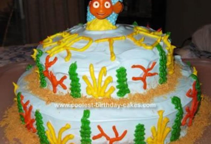 Cute Homemade Finding Nemo Birthday Cake With Nemo Candle