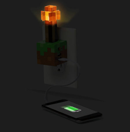 Minecraft Redstone Torch Usb Wall Charger Adds A Dash Of