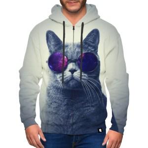 Coolest cat zip up hoodie