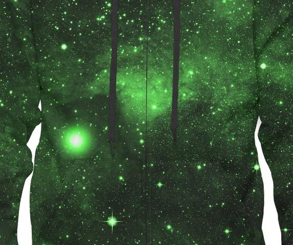 Green Space Galaxy Mens Hoodie Design