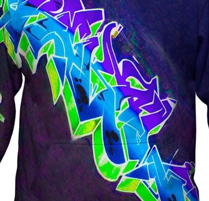 Purple hoodie graffiti design