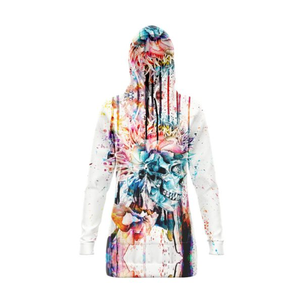 White Skull Hoodie Dress Multicolored