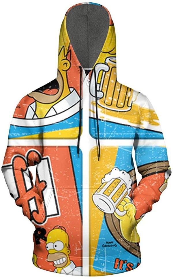 Duff Beer Hoodie with Homer Simpson