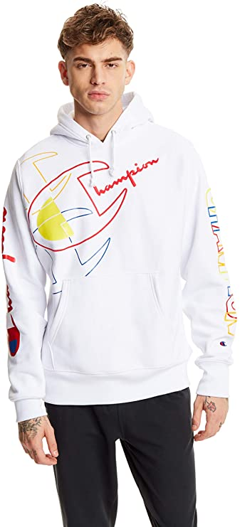 White Champion Brand Hoodie with multi-color design