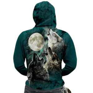 Green Wolf Zip-up Hoodie