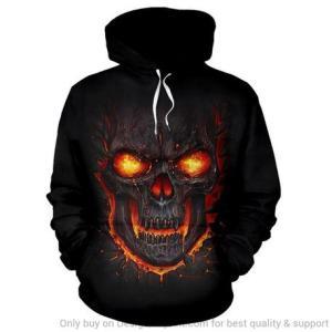Red Skull Hoodie printed on black