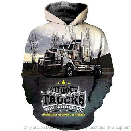 Trucker Hoodie pullover in White