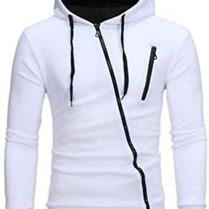 White and Black Zip Up Hoodie