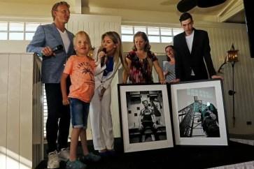 NOORDWIJK, 07-05-2018 , Grand Hotel Huis ter Duin / Breakers Beach House , Photo-exhibition Dirk Kuyt , Dirk Kuyt and Anouk Hoogendijk with two of the disabled photographers