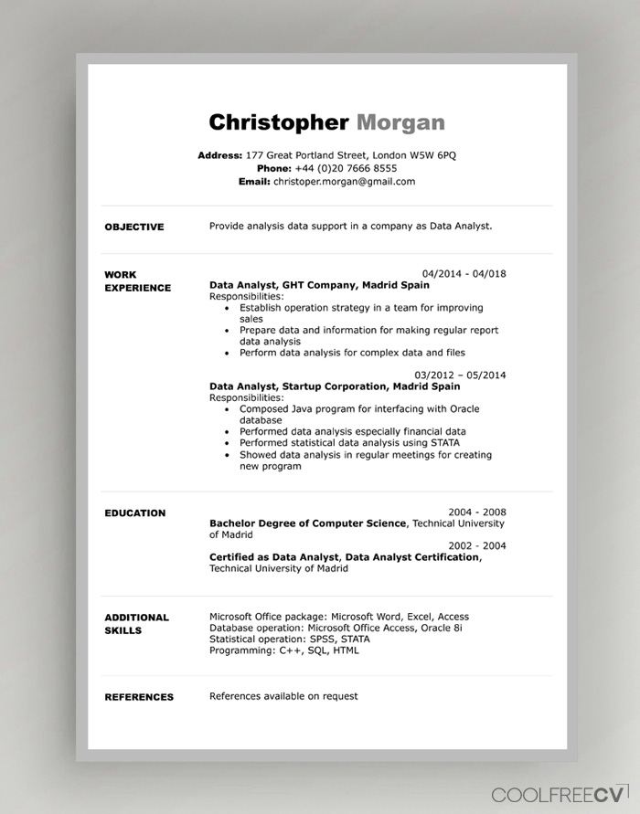 Lifehack contributor chris skyoles takes a look at 4 more ways you can create an online resume. Cv Resume Templates Examples Doc Word Download