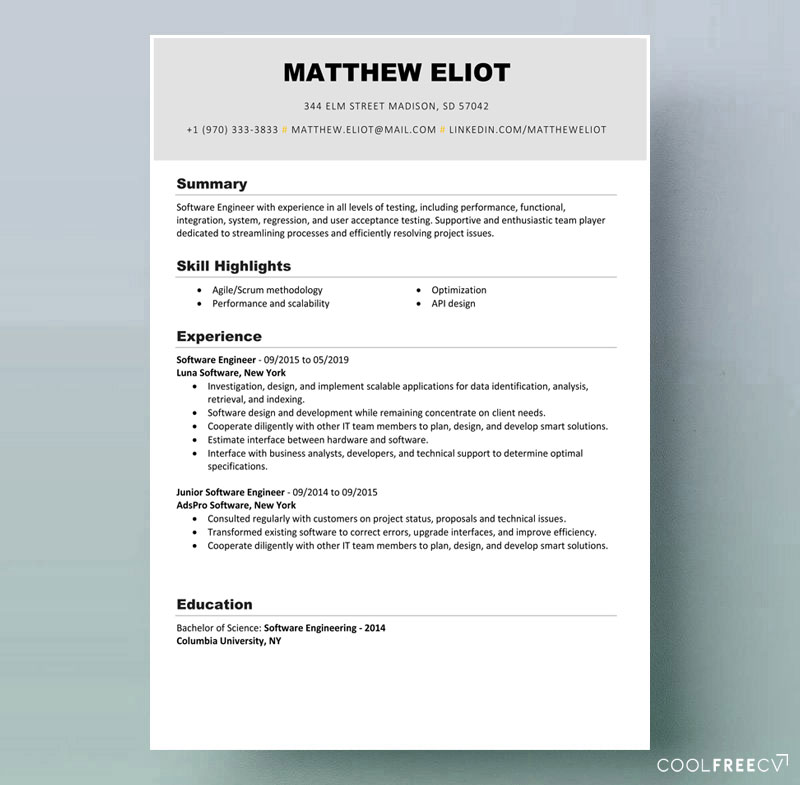 Fill the biodata information, education, experience, skills and photo for creating curriculum vitae. Resume Templates Examples Free Word Doc