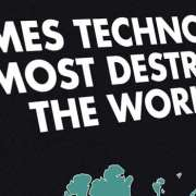 Thumbnail voor een infographic over de verschillende keren dat de wereld bijna vernietigd was door technologie.