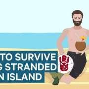 Infographic over hoe je op een onbewoond eiland moet overleven