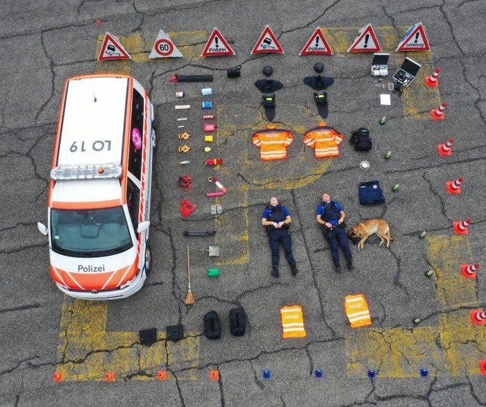 Infographic bovenzijde uitrusting ZGPD Police - Tetris Challenge