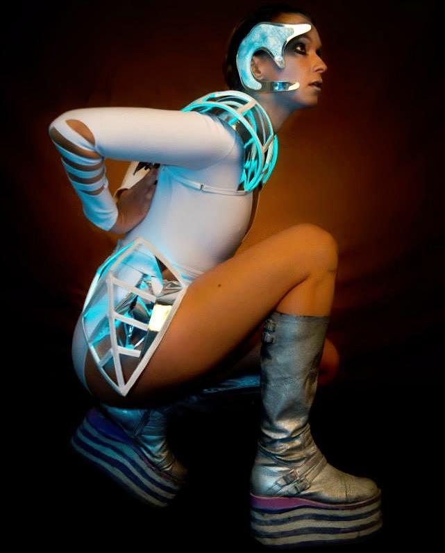 Neon Cyborg  Photo by: Bill Levey 2013 Modeled by: Anya Eydman Makeup by: Lindsey Reit — with Anya Eydman