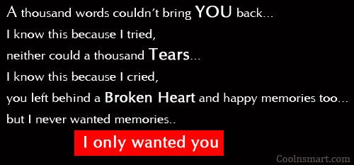 Sad Quote: A thousand words couldn't bring you back…...