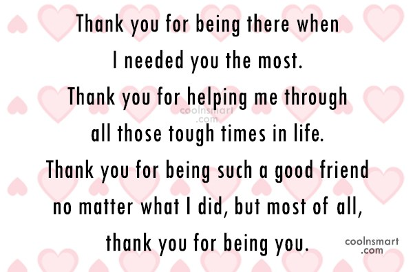 Thank You For Being There..