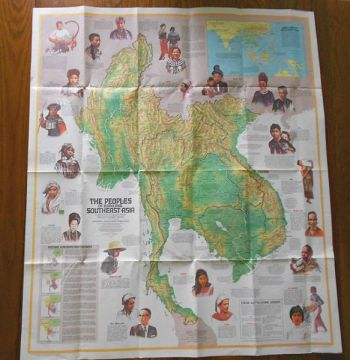 1971 Southeast Asia map  National Geographic in PAPER   EPHEMERA