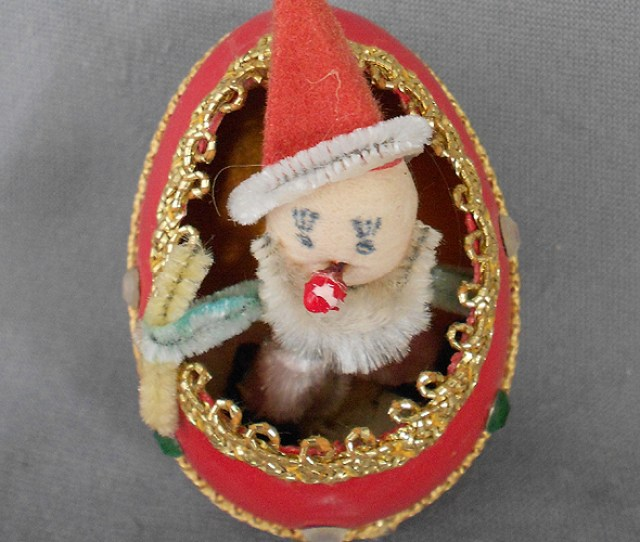 S S Vintage Genuine Goose Egg Diorama Christmas Ornament Spun Cotton And Chenille Clown