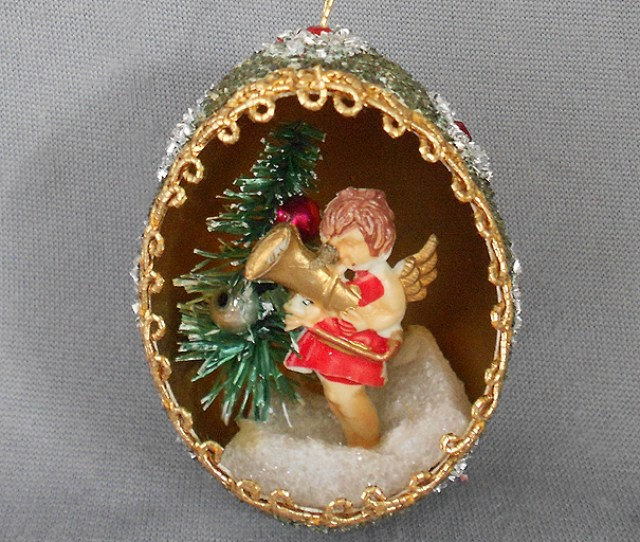 S S Vintage Genuine Goose Egg Diorama Christmas Ornament Angel With Bottle Brush Christmas