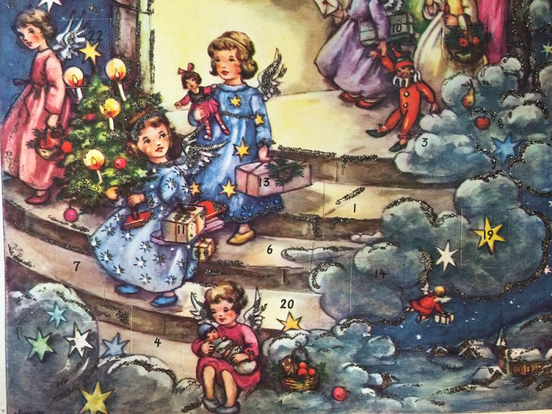 1940s Vintage German Advent Calendar Glittery Angels