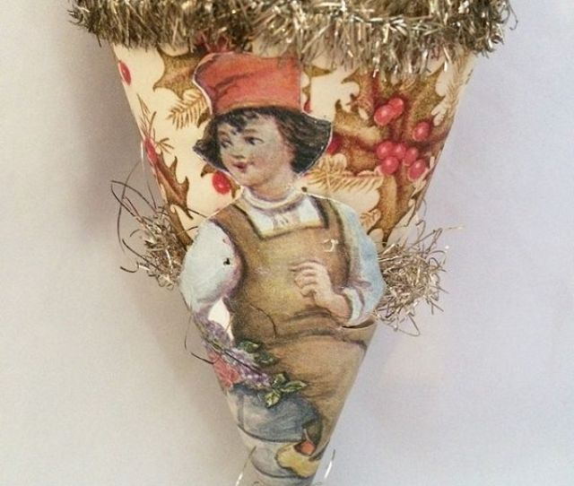 Early S Antique Paper Candy Cornucopia Dutch Boy Scrap Usa Cornucopia Candy Container Christmas Ornament