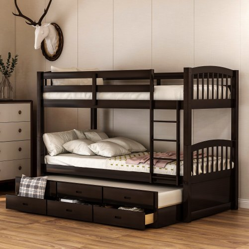 Twin over twin wood bunk bed with trundle and drawers, espresso 1
