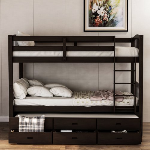 Twin over twin wood bunk bed with trundle and drawers, espresso 4